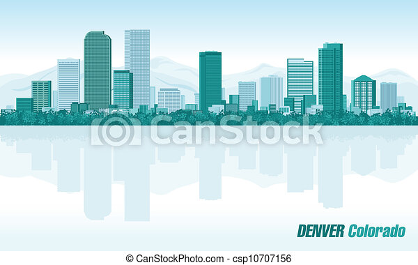 Denver Colorado detailed vector skyline - csp10707156