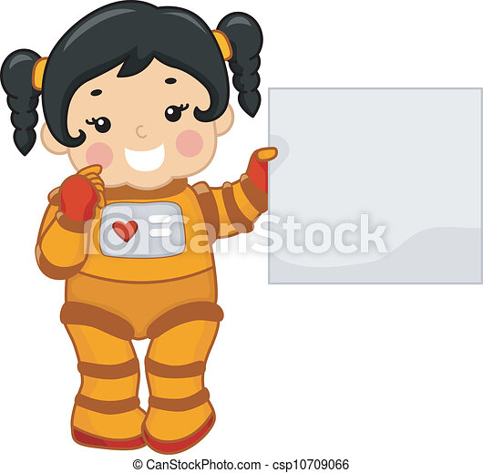Art Vector of Astronaut Girl - Illustration of a Girl Holding a Blank ...