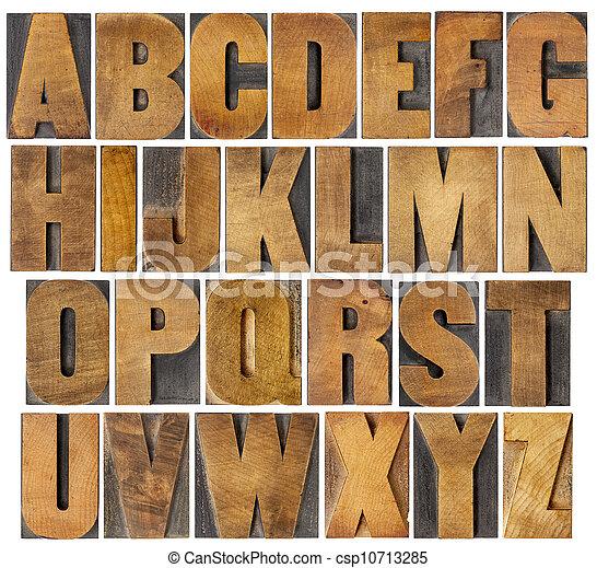 antique alphabet set in wood type - csp10713285