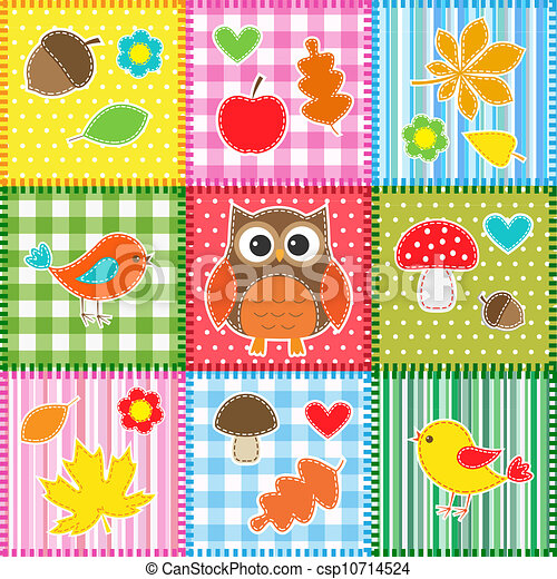 Autumn background with leaves, acorns, birds and owl - csp10714524