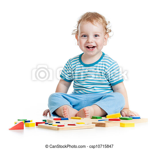 happy child playing educational toys isolated on white - csp10715847