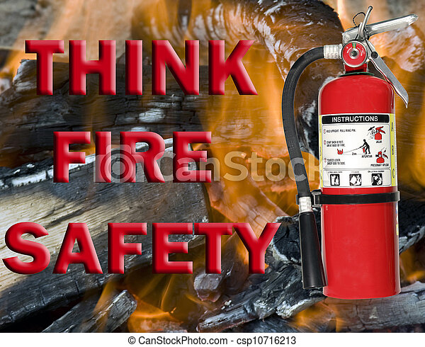 think fire safety sign - csp10716213