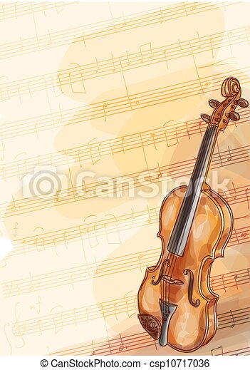 Violin on music background with handmade notes.  - csp10717036