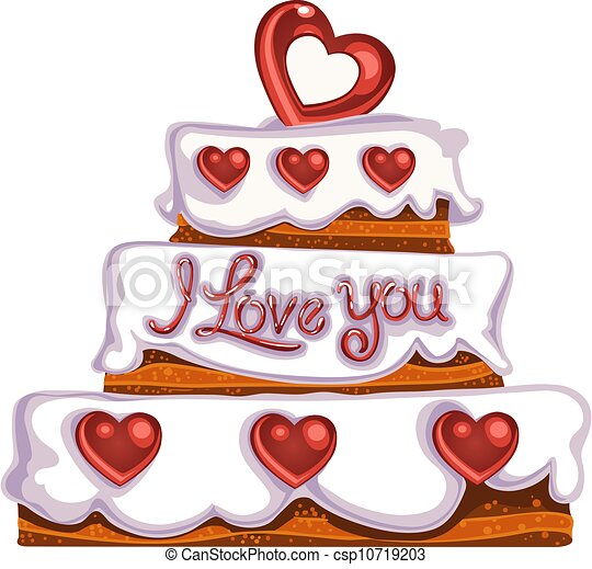 Delicious Cake Clipart : Vector Clipart of Valentine`s day delicious cake ...