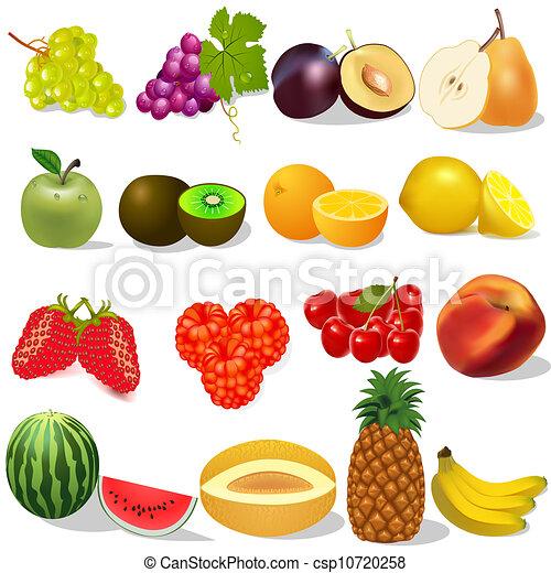 Clipart vettoriali di frutta set bianco maturo bacche for Clipart frutta