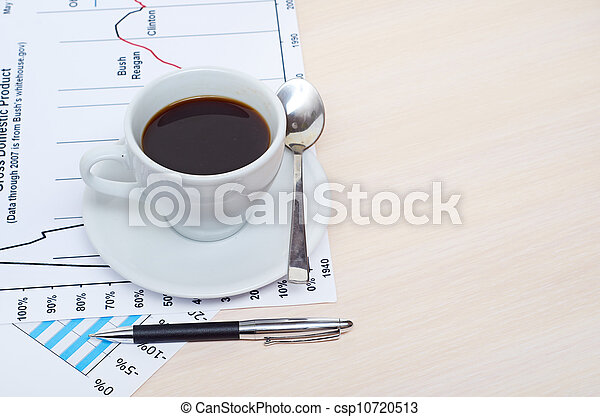 Accounting. Cup of coffee on document. chart and diagram - csp10720513