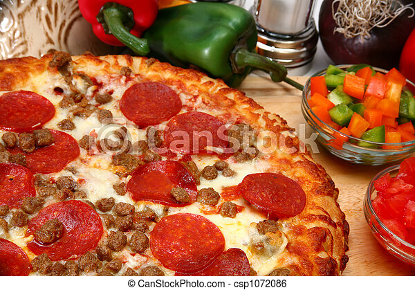 Peperoni and Sausage Pizza - csp1072086