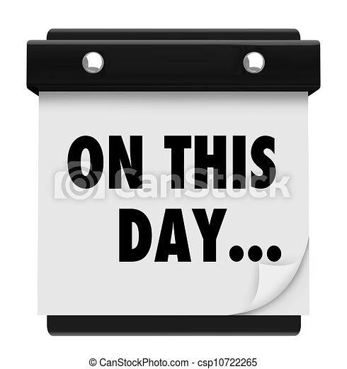 On This Day Wall Calendar Marking Data Nostalgia - csp10722265