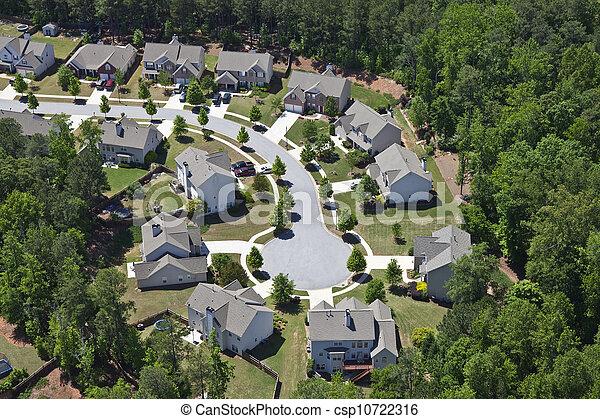 aérien,  USA, oriental, moderne,  suburbia, milieu, classe - csp10722316