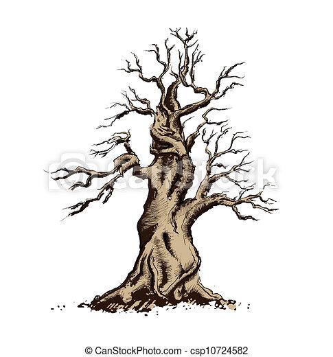 Tree Silhouette Vector Illustration. Bonsai Art - csp10724582