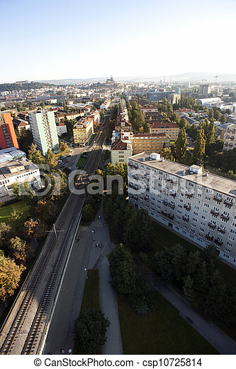 Highly detailed aerial city view with crossroads, roads, factories, houses, parks, parking lots, bridges, Brno, Czech Republic - csp10725814