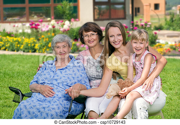 Four generations of women at countryside - csp10729143