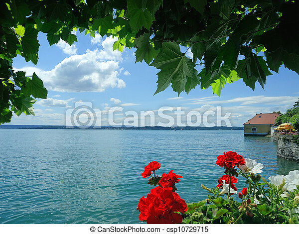 beautiful view over the Lake Constance in Meersburg, Germany - csp10729715