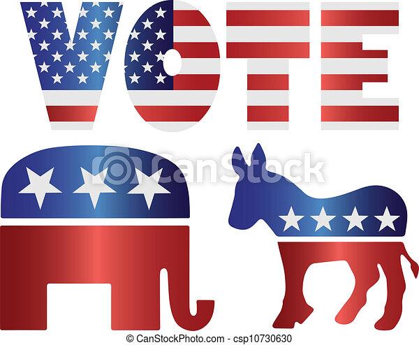Vote Republican Elephant and Democrat Donkey Illustration - csp10730630
