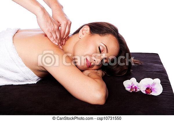 Relaxing neck shoulder massage in spa - csp10731550