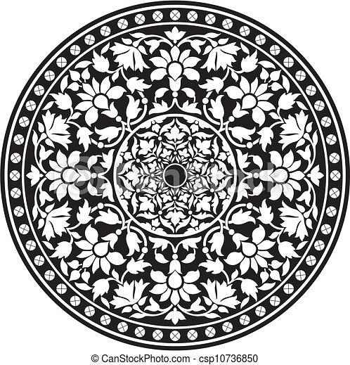 clipart vektor von traditionelle muster indische schwarz indische csp10736850 suchen. Black Bedroom Furniture Sets. Home Design Ideas