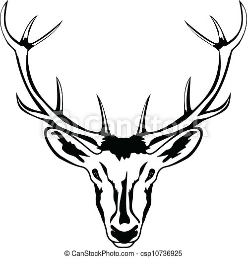 vector illustration of head of deer with horns vector an. Black Bedroom Furniture Sets. Home Design Ideas