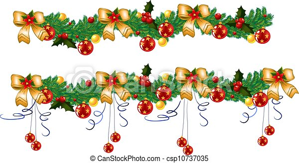Stock Illustration of Christmas Border Holly Garland - Image and ...