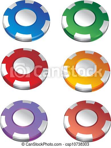 Gambling chips vector set  - csp10738303
