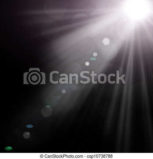 illustration of spotlight with glowing snow - csp10738788