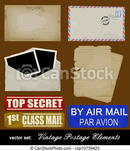 Scrapbooking set of old postage design elements - csp10739423
