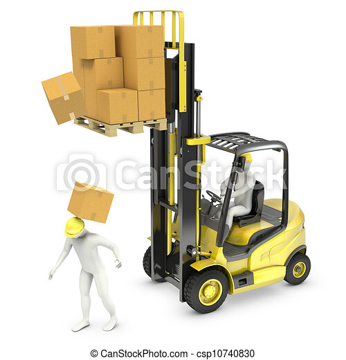 Worker was hit by cardboard falling from lift truck fork - csp10740830