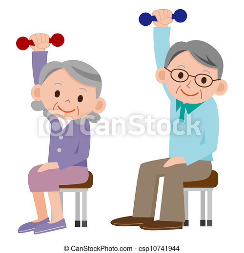 Drawing of Exercising senior csp10741944 - Search Clip Art ...
