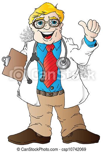 Clip Art Vector of Good News Doctor - Cartoon illustration of a ...