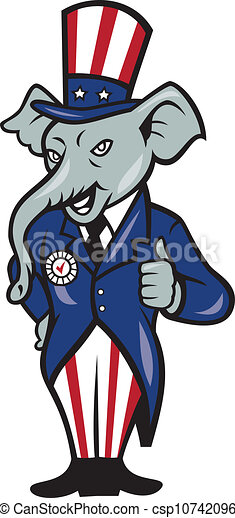 Illustration of a republican elephant mascot of the republican party ...