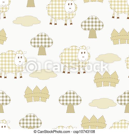 farm seamless with sheep - csp10743108