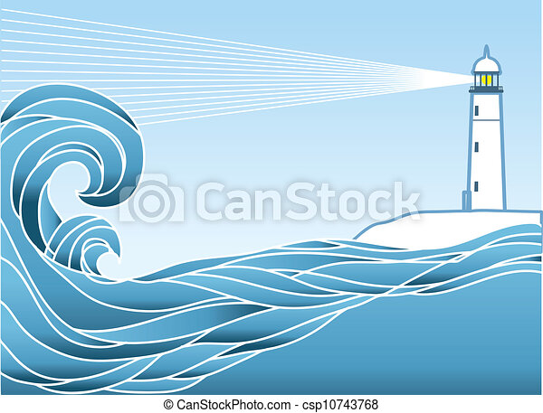 Blue seascape horizon. Vector illustration with lighthous - csp10743768