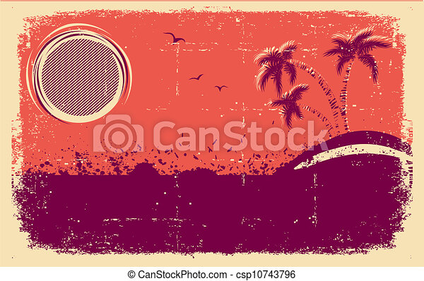 Vector tropical background.Abstract grunge illustration - csp10743796