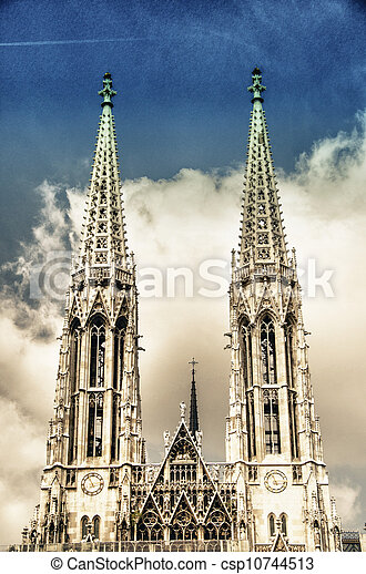 Votive Church twin towers in Vienna - csp10744513