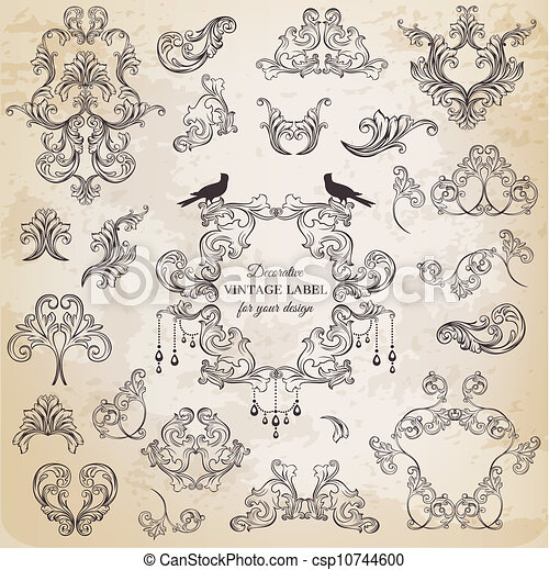Vector Set: Calligraphic Design Elements and Page Decoration, Vintage Frame collection with Flowers - csp10744600