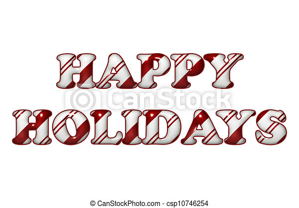 Happy Holidays in Candy Cane Colors - csp10746254