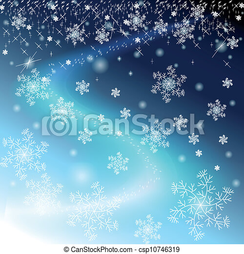 Winter blue sky with snowflakes and stars - csp10746319