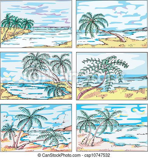 Vettori di disegni albero costa palma mare paesaggi for Disegni di paesaggi di mare
