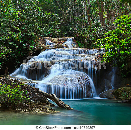 Erawan Waterfall in thailand - csp10749397