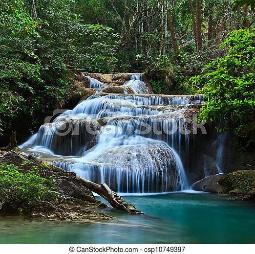 Erawan Waterfall in thailand - csp10749397