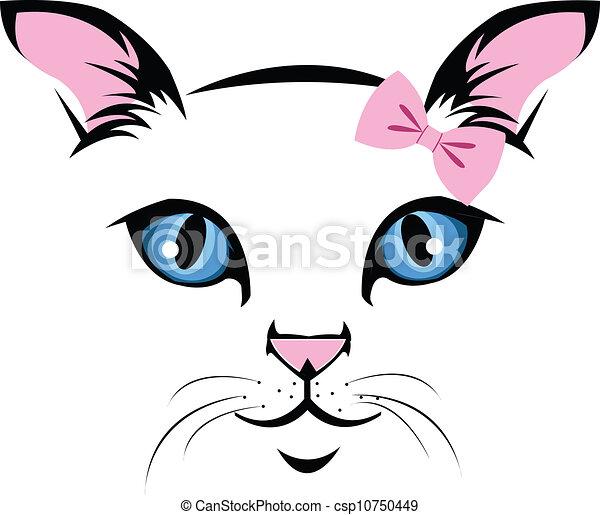 Vettore eps di gatto faccia innamorato muso for Disegno gatto facile