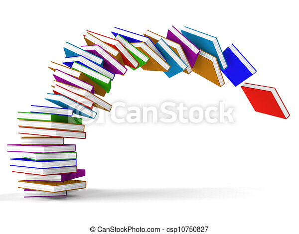 Stack Of Falling Books Representing Learning And Education - csp10750827