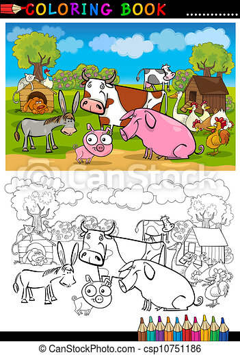 Farm and Livestock Animals for Coloring - csp10751186