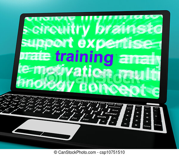 Online Training Computer Message Shows Web Learning - csp10751510