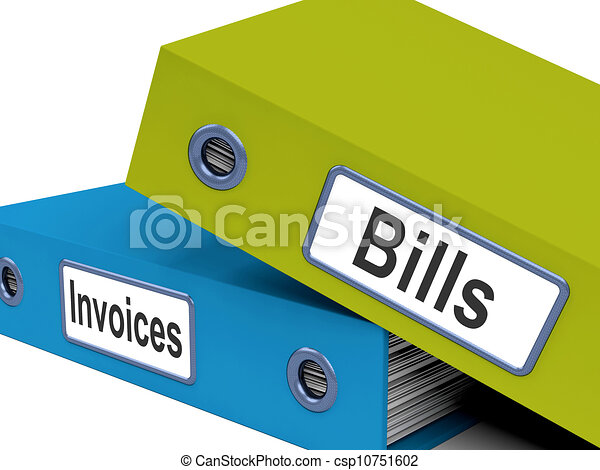 Bills And Invoices Files Show Accounting And Expenses - csp10751602