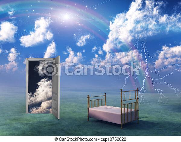 Bed in fantasy landscape - csp10752022