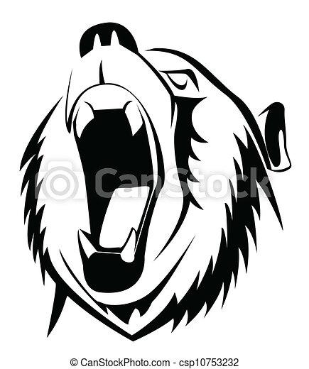 stock clip art icon  stock clipart icons  logo  line art    Roaring Bear Clip Art