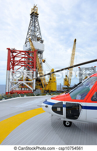 The helicopter park on oil rig - csp10754561