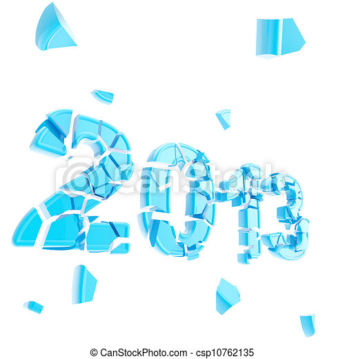 Stock Illustration - Year two thousand and thirteen broken into pieces