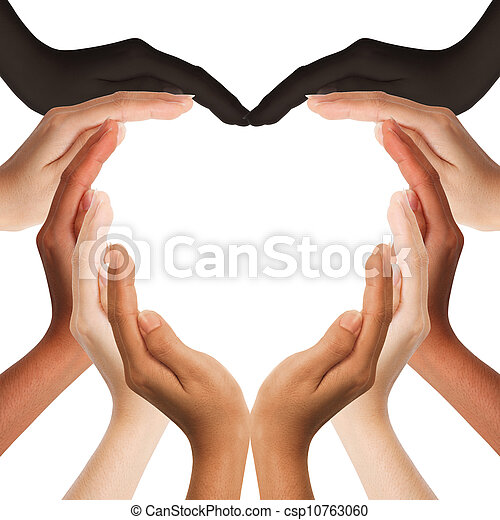 multiracial human hands making a heart shape on white background with a copy space in the middle  - csp10763060