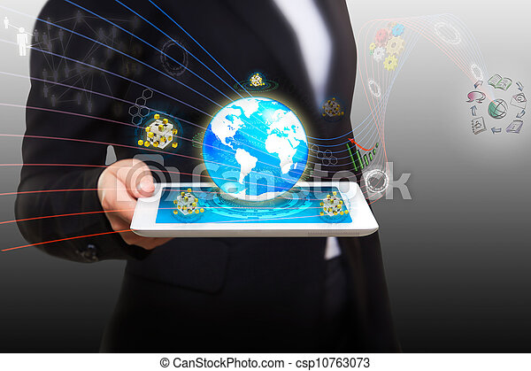 streaming flow of data with modern smart tablet pc  - csp10763073